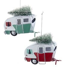 Kurt Adler Red and Green Campers Hauling Trees Tin  Holiday Ornaments Set of 2