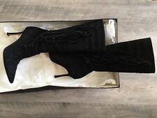 JIMMY CHOO Gloria Women's Boots Shoes Fringe Suede Black Size 36 US 6