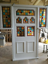 Edwardian Pine Front Door with frame and surround glazing