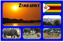 ZIMBABWE, AFRICA - SOUVENIR NOVELTY FRIDGE MAGNET - SIGHTS / FLAGS - NEW - GIFTS