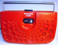 1970s PANASONIC RED 8 TRACK STEREO TAPE PLAYER + 10 TAPES! mcm space age vtg