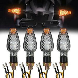 4x Motorcycle LED Turn Signal Light Blinker Indicator Amber 14LED Carbon fiber