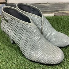 UK3 Womens UNITED NUDE Fold Mid Heel Ankle Bootie - UN Silver Design Shoes EU36