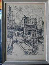 Bild gerahmt /Hamburg -Blick von der Ellerntorbrücke-Federzeichnung/ E. Grandeit
