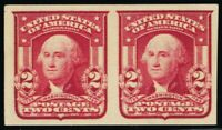 320A, Mint 2¢ Superb NH Type II Lake Color Imperforate Pair - Stuart Katz