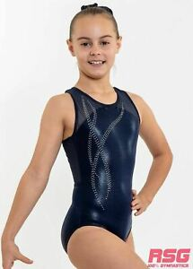 "RS Gymwear Sleeveless Leotard ""Tilly"" Navy Blue mesh crossover back (RSG-460)"