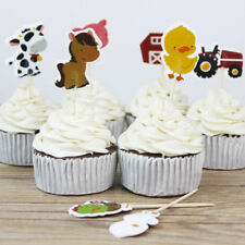 24x/lot Farm Animal Theme Party Cupcake Toppers Pick Kid Birthday Party Decor SP