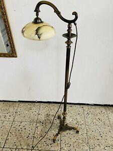 Bronze Messing Oder Bronze Stehleuchte Stehlampe Jugendstil Marmor Glas Leselamp