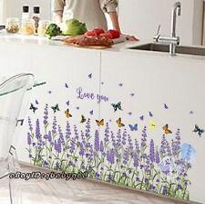 Lavender Flower Butterfly Wall Stickers Border Decals Window Decor Nursery Kids