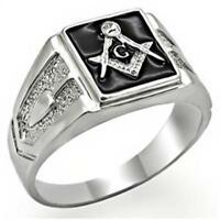 18K WHITE GOLD EP MASONIC FREEMASON MENS RING size 8-14 black u choose
