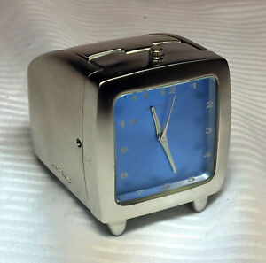 NICE! WIND UP  METAL BLUE FACE ANDROID TRAVEL DESK TABLE CLOCK ~ HIDDEN STORAGE