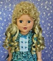 La Sioux ANNETTE Pale Blonde Full Cap Doll Wig Size 12-13 Long, Curly w/  Bangs!