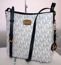New Michael Kors Travel MK Signature Navy White Large Crossbody Messenger Bag