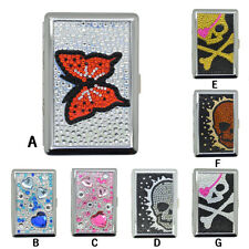 Eclipse Crush Proof Metal Butterfly,Heart,Skull Bedazzled 100s Cigarettes Case