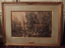 très grand cadre en bois doré avec estampe de Louis-Ernest LESSIEUX saintonge