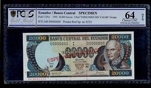 ECUADOR SPECIMEN 20000 SUCRES 1995 PICK #129a PCGS 64 CHOICE UNC OPQ.