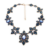 Collier Floral Art Deco Bleu Foncé Diamentine Vintage Original Mariage OSC 2