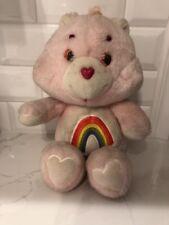 "Vintage Original 1983 CARE BEAR CHEER BEAR 13"" Pink Rainbow Bear Kenner"