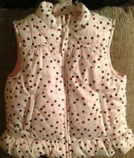 small 5-6 toddlers Crazy 8 Girls White Zip Up Vest Pink polka dots Spring