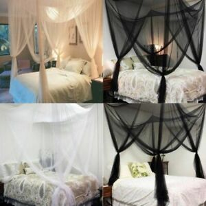 4-Corner Bed Canopy Mosquito Net Queen King Size Netting Fly Insect Protection