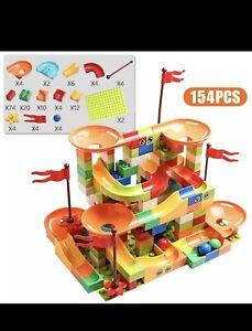154 PCS super quality Kids Marble race Run big building blocks DUPLO compatible