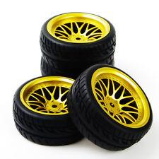4Pcs Rubber Tire WheelRim F. HSP HPI RC 1:10Flat Racing On Road Car BBG+PP0150