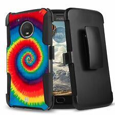 For MOTO E4 Hybrid Rugged Armor CLIP Protector Case Twilight Rainbow Psychedelic