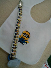 minions or  friends personalized with yr childs name  dummy clip bib sets