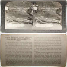 Keystone Stereoview Man on Bed of Nails, Calcutta, INDIA From RARE 1200 Card Set