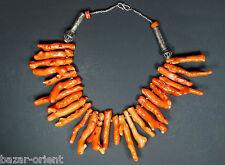 Attraktive Bambuskorallen Kette mit Silber Perlen - bamboo coral necklac  Nr-28