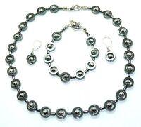 3er Schmuckset Halskette Armband Ohrringe Hämatit Donut schwarz silber  486s