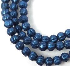 Four 4 14 mm Cushion Round Beads Satin Metallic Teal