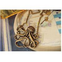 New Ladies Gothic Steam Octopus Pendant Vintage Retro Long Chain Bronze Necklace
