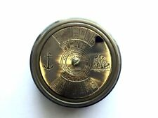 "Compass Brass Poem 2"" Antique Vintage Pocket Maritime Nautical"