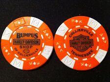"""Harley Ball Marker Poker Chip (Orange & White) """"Bumpus Shop"""" Collierville,TN."""