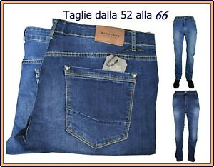 jeans uomo elasticizzato taglie forti vita alta dritto stretch denim regular fit