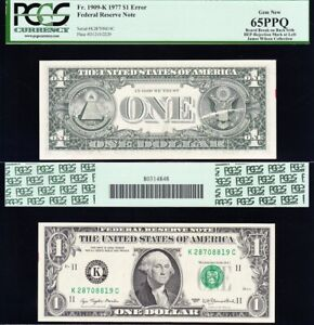 "Amazing GEM UNC ERROR Note ""Board Break on Back"" 1977 $1 DALLAS FRN PCGS 65 PPQ!"