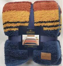New Pendleton King 112�x92�Grand Canyon Multi Stripe Sherpa Fleece Blanket