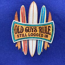Old Guys Rule Shirt Mens XL Blue Short Sleeve Surf Boards Graphic T-Shirt