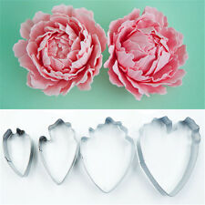 4pcs Peony Fondant Cake Cookies Cutter Mold Stainless Steel Decorating DIY Tool