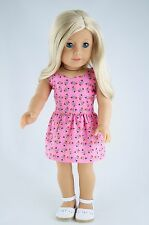 Summer Dress Pink And Flowers American Made Doll Clothes For 18 Inch Girl Dolls