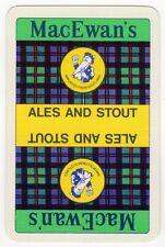 Playing Cards 1 Swap Card Old Vintage MacEwans Brewery Ales + Stout Beer Tartan