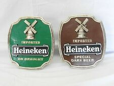 Pair of Vintage Heineken Beer Plastic Signs