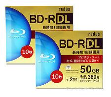 20 Radius Bluray DVD Discs BD-R DL 4X Speed 50GB Bluray Media Blank Discs tdk