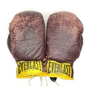 Vintage Everlast Leather Boxing Gloves 10oz Prop Man Cave