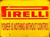 PIRELLI TYRES retro vintage metal advertising wall sign plaque garage workshop