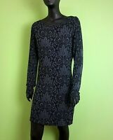 French Connection Dress Size UK 12 Black Knee Length Bodycon Wiggle Long Sleeved