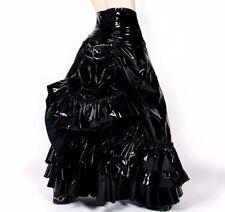 """VICTORIAN INSPIRED SKIRT W/BUSTLE BLACK PVC """"V-SKIRT  BY HILARY'S VANITY"""