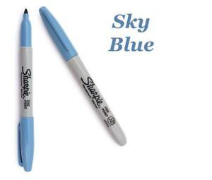 NEW SHARPIE FINE POINT PERMANENT COLOUR MARKER PEN BULLET TIP - SKY BLUE