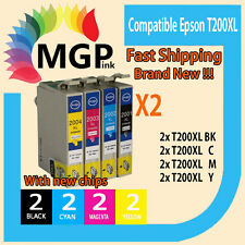 8x Generic Ink Cartridge T200XL T2001 T2002 T2003 for Epson WF2540 XP300 XP400